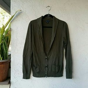 Olive Green GAP Cardigan Sweater w/ Cashmere